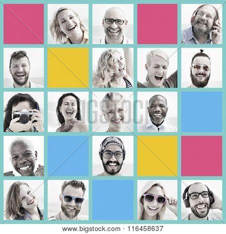 People Set of Faces Diversity Human Face Concept