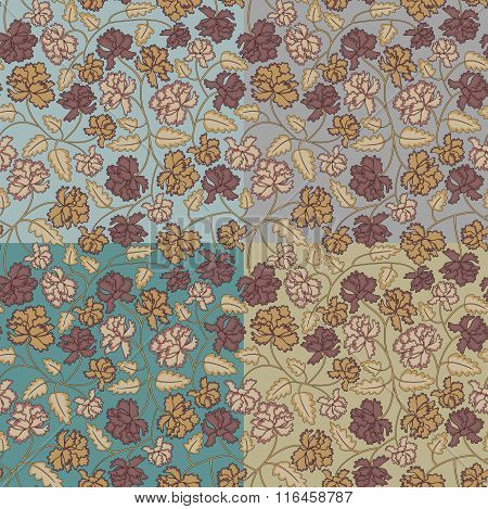 Vintage Peony Flowers And Leaves Seamless Pattern, 4 Variants Of Background. No Mesh, Gradient,trans