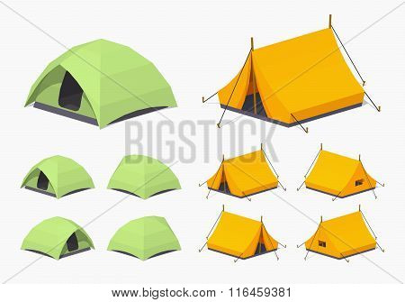 Green and orange camping tents