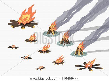 Set of campfires