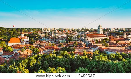 Summer Sunset Sunrise Over Cityscape Of Vilnius, Lithuania. Beau