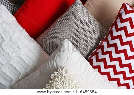 Multicoloured pillows closeup