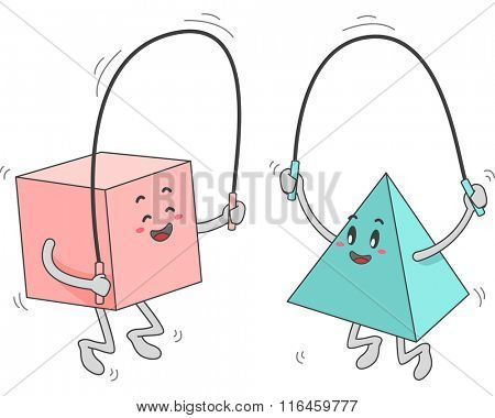 Mascot Illustration of a Square and Triangle Shapes while playing jumping rope