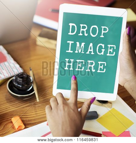Digital Tablet Drop Image Here Copy Space Technology Concept
