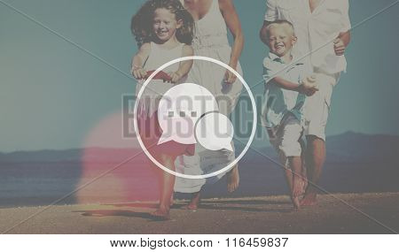 Family Running Playful Vacation Beach Chatting Concept