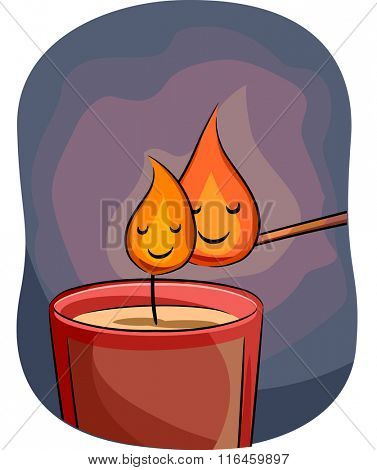 Mascot Illustration of a Match Stick Litting up a Candle with flames