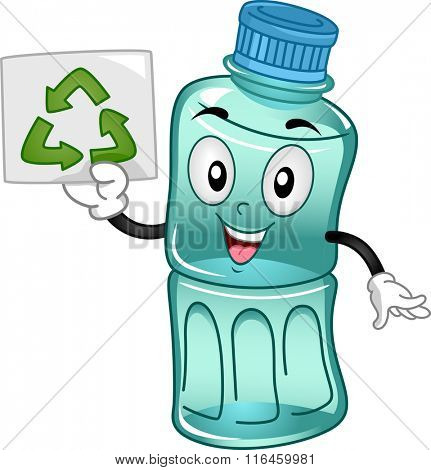 Mascot Illustration of a Plastic Bottle promoting the importance of Recycle