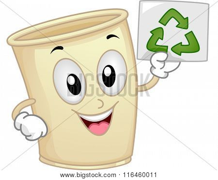 Mascot Illustration of a Paper Cup promoting the importance of Recycle