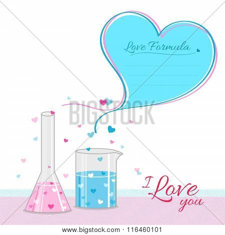 Love Formula Background Banner With 2 Test Tubes Combine And Form Big Heart