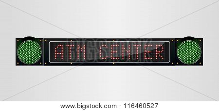 Shining retro light banner ATM sign on a black background