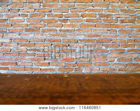 Old red brick wall, vintage background.