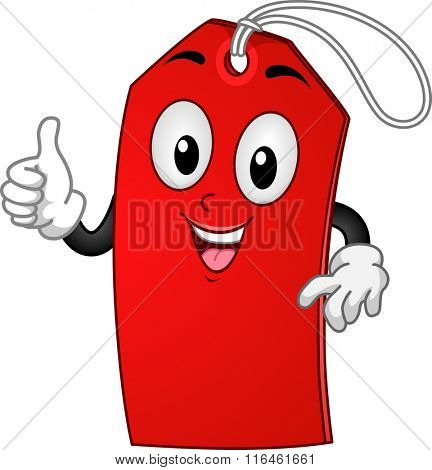 Mascot Illustration of a Sale Tag while doing the okay sign