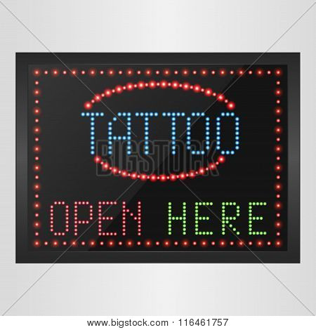 Shining retro light banner tattoo open here on a black background