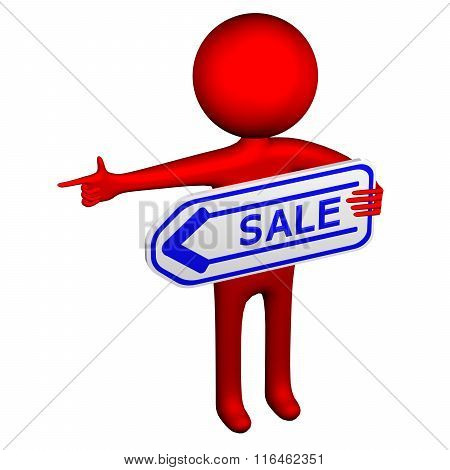 3D Man With Arrow With Word Sale