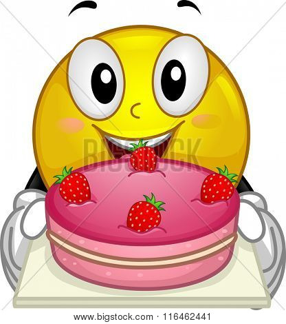 Illustration of a Smiley showing a strawberry cake