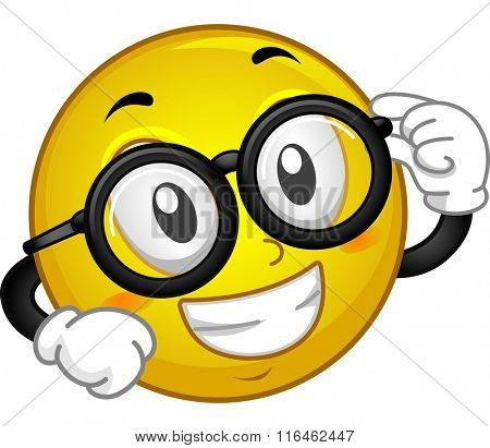 Mascot Illustration of a Smiley showing off his Eye Glasses