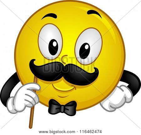 Mascot Illustration of a Gentleman Smiley showing his Mustache for Photo op