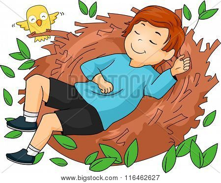 Illustration of a Boy while sleeping on a nest