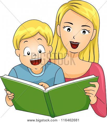 Illustration of a Happy Boy reading a book with his Mom