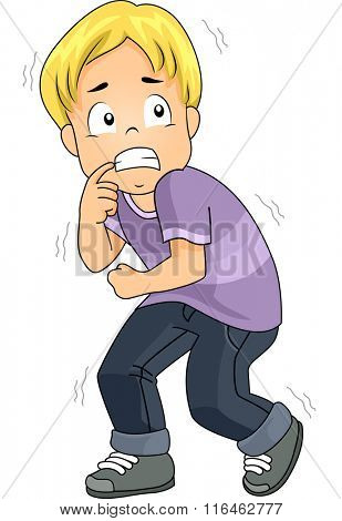 Illustration of a Boy Terrified of a situation