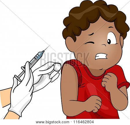 Illustration of an African American Boy scared of the syringe
