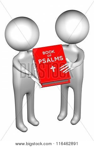 3D People With Book Of Psalms