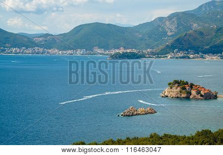 The Picturesque Panorama Of The Adriatic Coast Near The Island Of Sveti Stefan, Montenegro