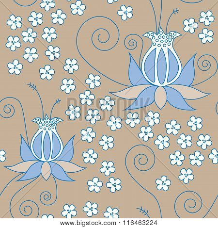Floral Pattern In Blue And Brown Colors, No Mesh, Gradient, Transparency Used. Objects Grouped And N