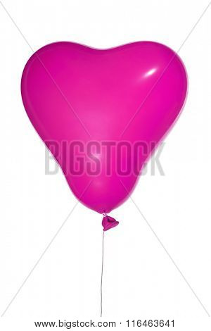 single pink heart shape balloon isolated on white background