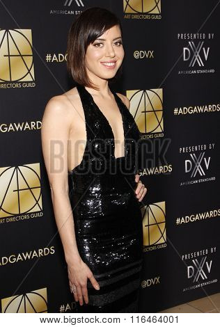 Aubrey Plaza at the 20th Annual Art Directors Guild Excellence In Production Design Awards held at the Beverly Hilton Hotel in Beverly Hills, USA on January 31, 2016.