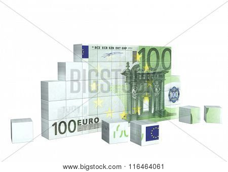 Elements of puzzle with banknote of euro. Isolated on white background