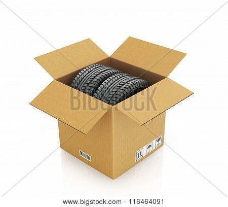 Two Automobile Wheels In A Cardboard Box On A White Background.