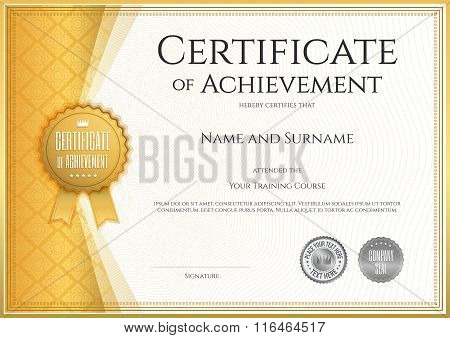 Certificate Of Achievement Template In Vector With Applied Thai Line In Yellow Gold Tone