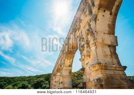 Part detail of famous landmark ancient old Roman aqueduct of Pon