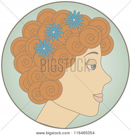 Circle With Redhead Curly Girl Inside. No Mesh And Transparency Used. Gradient Used. Objects Grouped