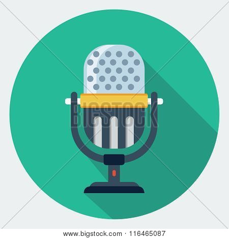 Vector Retro Microphone flat icon