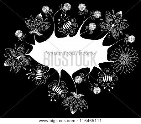 Frame Made Of White Splash And White Patterned Flowers On Black Background. No Mesh, Gradient, Trans
