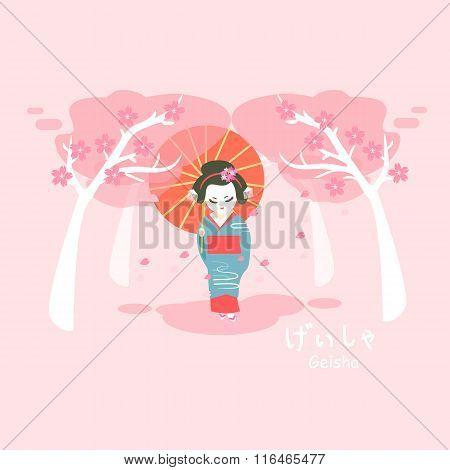 Japan Geisha With Sakura