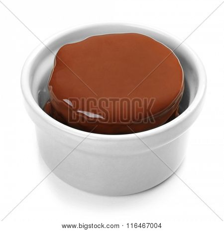 Chocolate lava cake, isolated on white