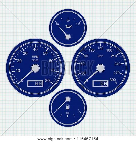 Dashboard. Speedometer And Tachometer. Icon.  Illustration On Notebook Sheet Texture Background