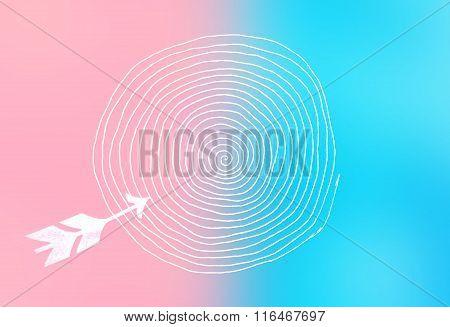 Arrow And Target - Trend Colors Pastel Tones - Serenity And Rose Quartz