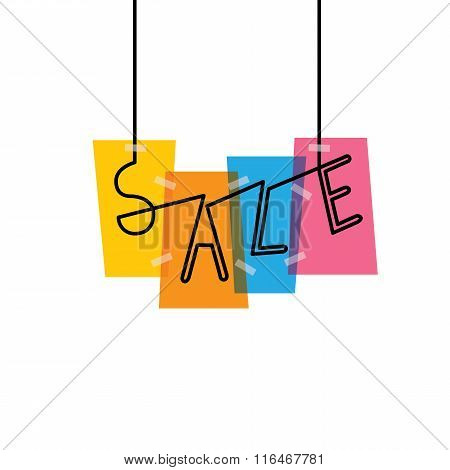 Sale Words On Colorful Rectangles - Vector Graphic Icon