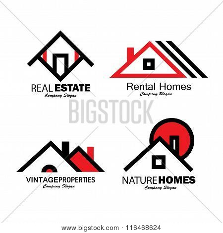 Set Of Line Icons Of Buildings Vector Logos
