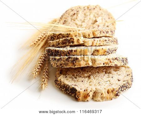 Sliced bread and ears isolated on white