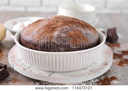 Home made chocolate pie on plate