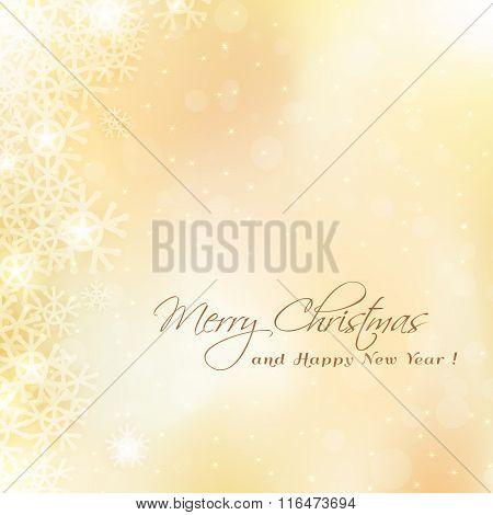 Cute Merry Christmas Golden Card