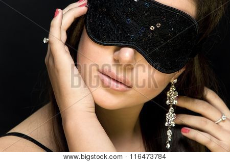 Beautiful Sexy Woman. Her Eyes Closed Mask.