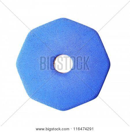 Blue eraser, isolated on white background
