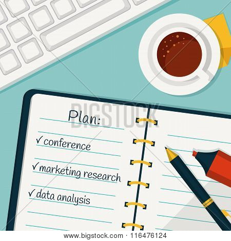 Day Planning. Vector Concept Background.