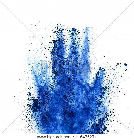 Explosion of blue powder, isolated on white background